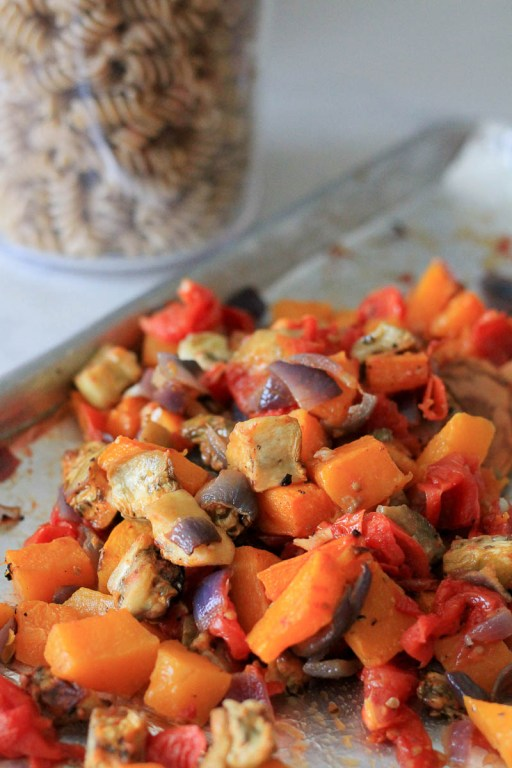 Roasted vegetables prepared | Roasted vegetable and goat cheese pasta salad recipe | foodwithaview.com