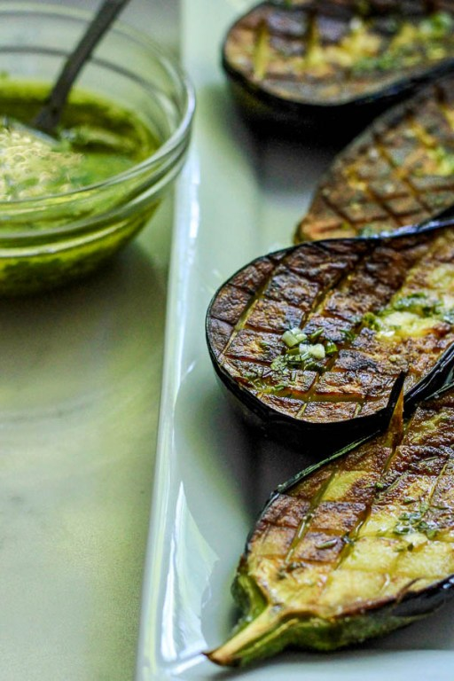 Roasted Eggplants and a Dish of Herb Vinaigrette | Mozza at Home cookbook review | foodwithaview.com