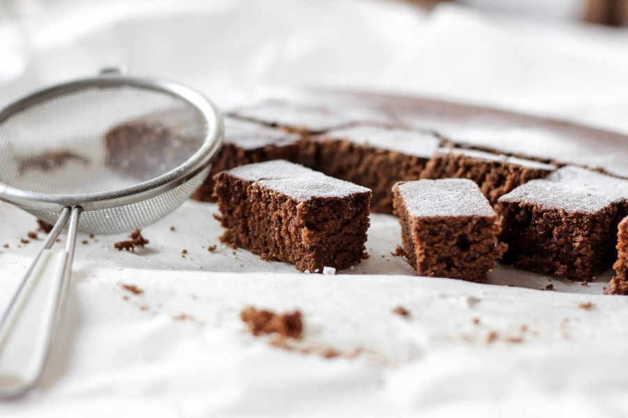 Simple brownies dusted with powdered sugar | Holiday entertaining made simple with lessons learned from The Barefoot Contessa | foodwithaview.com