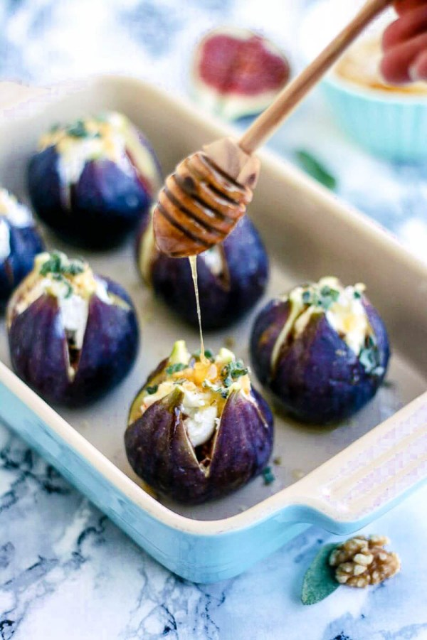 Baked Figs with Goat Cheese and Honey | Recipe and photo from Happy Kitchen Rocks | Holiday Food and Wine Pairings and Holiday Wine Gifts | foodwithaview.com