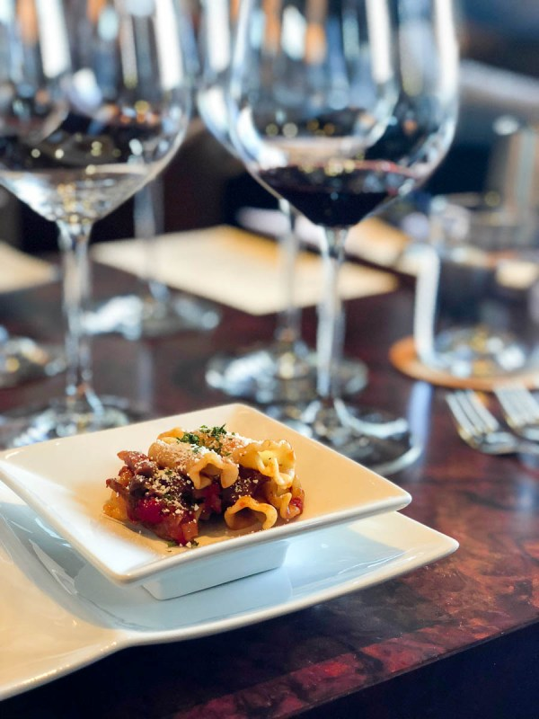 Pasta with Muscovy Duck Breast and Porcini Mushroom Ragout served with Red Wine | photo by Jenn Kosar | Holiday Food and Wine Pairings and Holiday Wine Gifts | foodwithaview.com