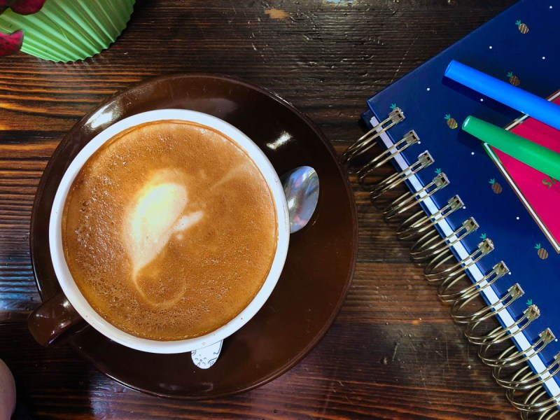 Coffee and planner for meal planning 101 | A beginners guide to meal planning | Free printable simple meal planning template | photo by jenn kosar | foodwithaview.com