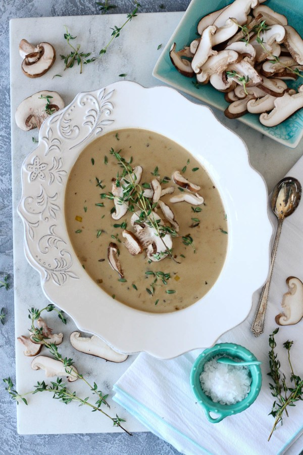 Antique white bowl of mushroom soup | Cream of Wild Mushroom Soup | Keto-Friendly, Gluten-Free, Low-Carb | Recipe on foodwithaview.com