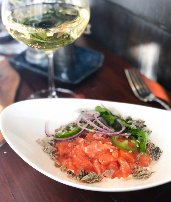 Salmon tartare with jalapeno yuzu and crispy skins   Summit House restaurant in Summit, NJ   NJ restaurant reviews on foodwithaview.com