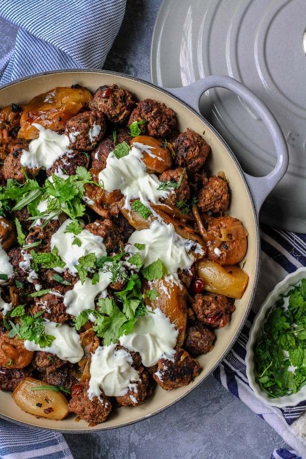 Lamb meatballs with barberries, yogurt and herbs | Jerusalem: A Cookbook Review | foodwithaview.com