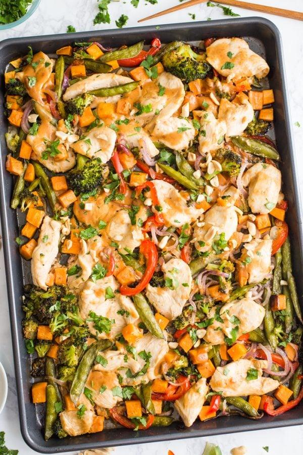 Sheet Pan Peanut Chicken & Veggies