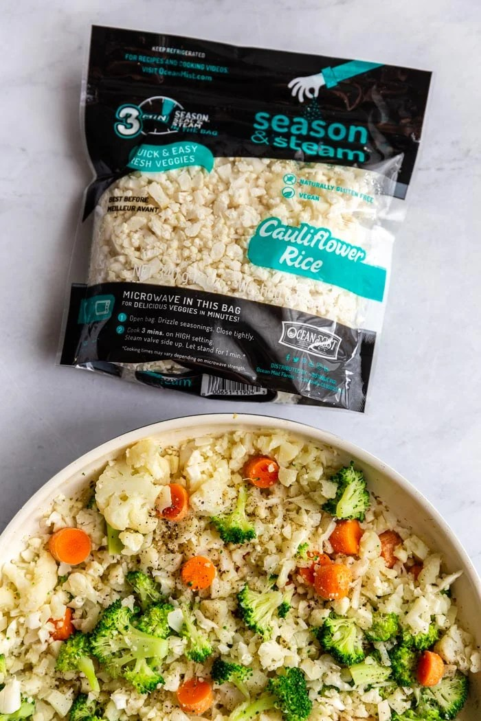 10 minute cauliflower fried rice food