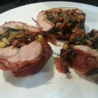 Pigging out! Fillet of Pork Wrapped in Parma Ham with Spinach, Prune and Pine Nut Stuffing