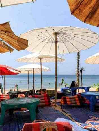 Lounging on Klong Nin Beach under the umbrellas