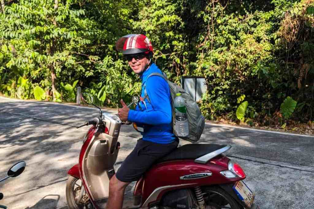 Scott Woodworth on a scooter in Koh Lanta, Thailand