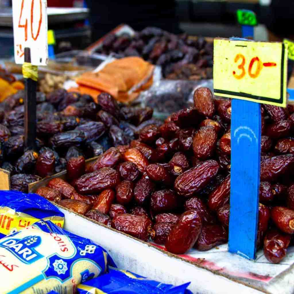 Dried fruit display at the market