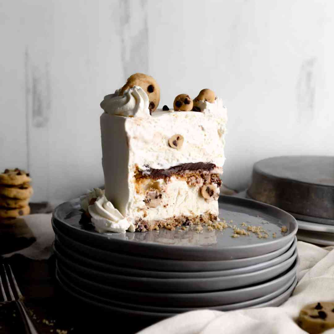 A single slice of No Churn Vanilla Cookie Dough Ice Cream Cake
