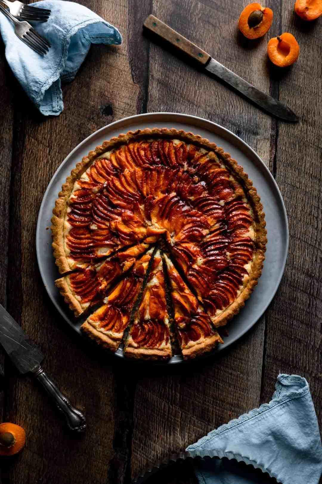 sliced apricot Frangipane Tart ready to be served
