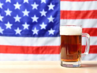 inst blurred American flag. alcohol use in the USA