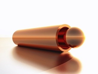 Copper rod head on - white background.