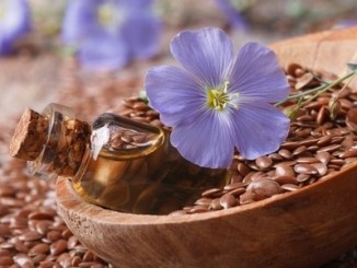 Flax oil in a glass bottle, flowers and seeds in a wooden spoon macro.
