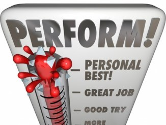 Perform word on a thermometer or gauge measuring your performance, talent, results or outcome of an endeavor with audience or judges score, feedback, rating or grade