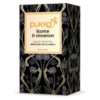 Pukka: A box of licorice and cinnamon tea bags.