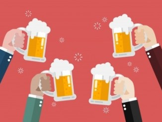 Infographic of four tankards of beer help by hands on a pinkish background.