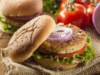 Organic grilled black bean burger with tomato and lettuce