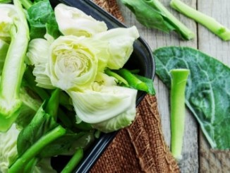 Green vegetables which suffer degradation of chlorophyll when they are processed.
