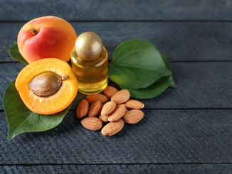 Bottle of apricot oil with fresh fruit and kernels on wooden table