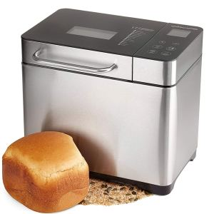 Andrew James Bread Maker Fresh Bake Digital Breadmaker with 17 Functions Including Gluten Free & Sourdough | Compact Machine with Automatic Ingredients Dispenser Delay Timer & Keep Warm Plus Recipes