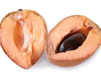 Mamey sapote (Pouteria sapota) fruit cut in half on white background