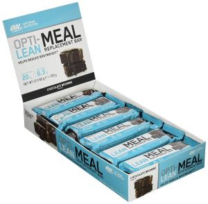 Optimum Nutrition Opti-Lean Meal Replacement Protein Bar with Vitamin B12, Vitamin C and Vitamin D and High Fibre. Protein Meal Replacement by ON - Chocolate Brownie, Pack of 12, 60g