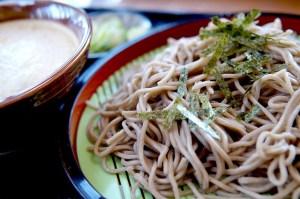 Soba noodles on a plate