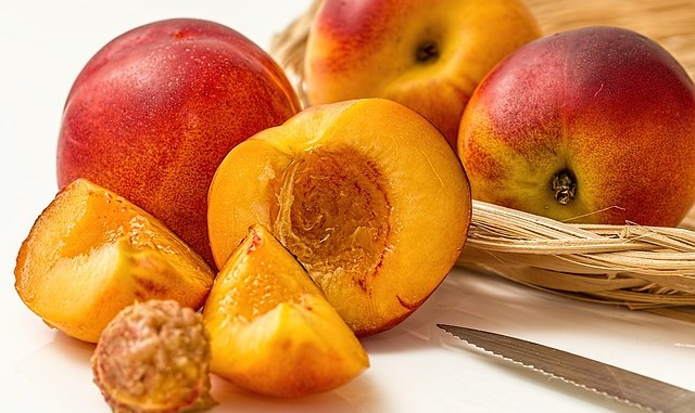 nectarines such as this are aften put through a ripening process so they arrive on the retailer shelf in perfect flavour.