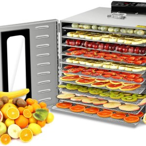 10 Trays Food Dehydrator Machine with Visible Glass Window, All Stainless Steel Fruit Dryer Machine Thermostat 30-90℃, Timer 24 Hours, Dehydrator for Fruit