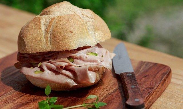 Mortadella in a sandwich.