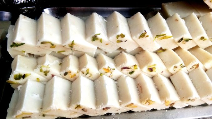 Khoya Barfi famous Indian sweets. Popular festival food from India.