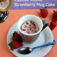 Vanilla Strawberry Mug Cake / Eggless Microwave Cake Recipe