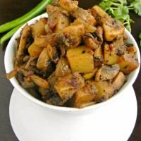 Mushroom Potato Fry / Kalan Urulai fry (Indian Style)