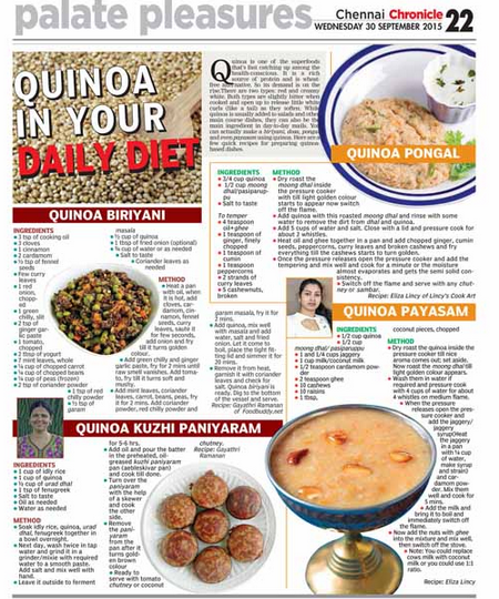 my Quinoa Recipes in Deccan Chronicle