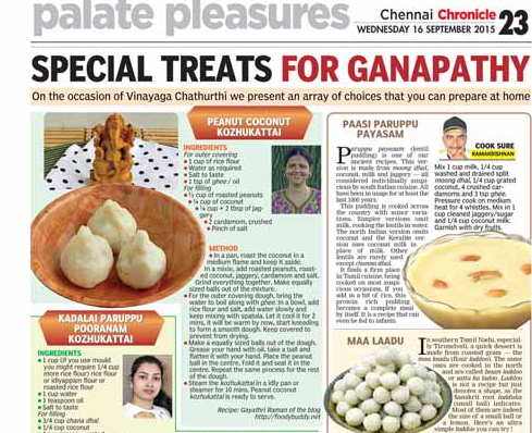 my peanut coconut kozhukattai in deccan chronicle