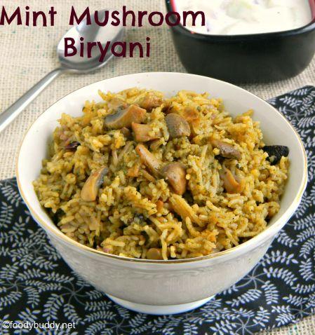 mint mushroom biryani