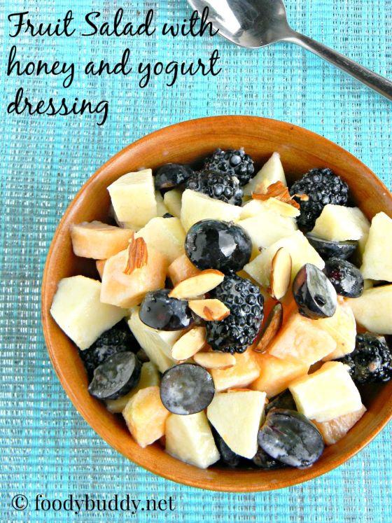Fruit salad with yogurt honey dressing