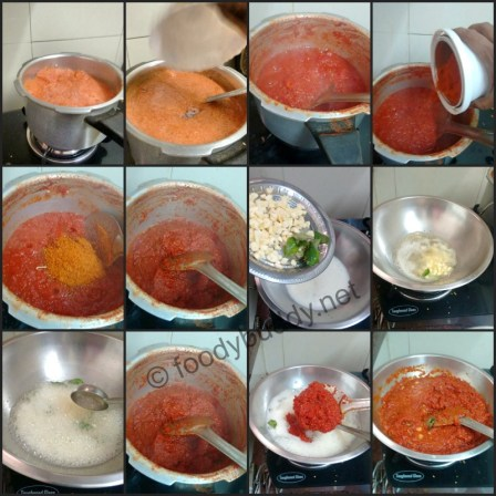 cooking of tomato pickle