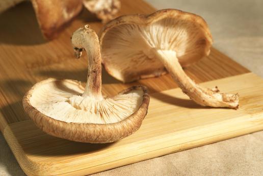shitake mushroom over a cutting board