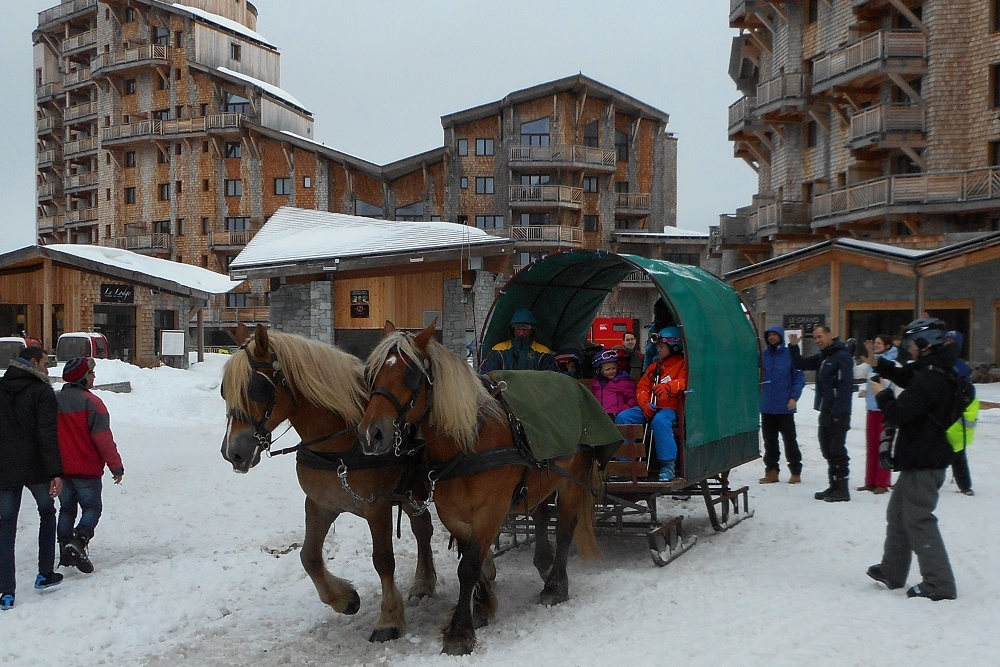 Ski school sleigh leaving LAmara apartments