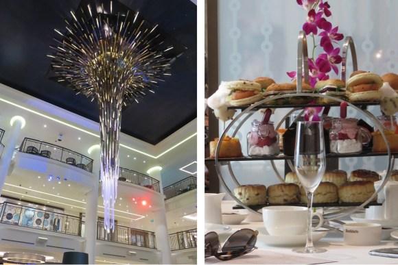 Britannia Atrium chandelier and Market Cafe