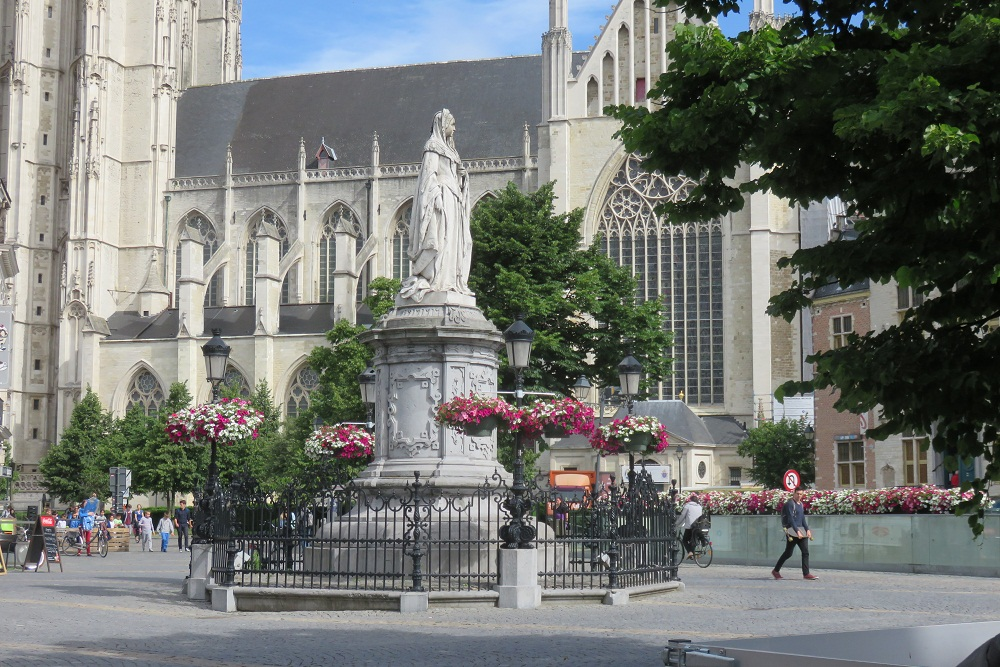 Mechelen view and statue of Margaret of Austria. Discovering the city
