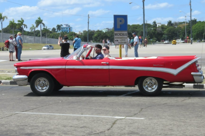iconically Cuban Havana classic car in Revolucion Square