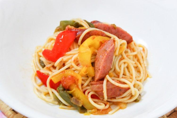 Rustic Greek Sausages & Pepper Pasta