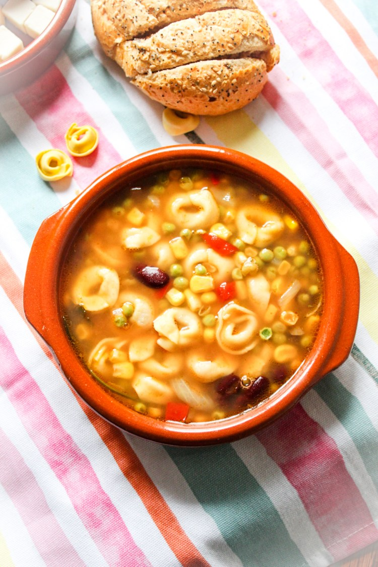 Mexican Style Vegetables Soup with Tortellini