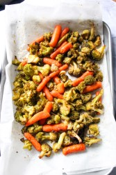 Roasted Broccoli and Carrots topped with Homemade Sauce