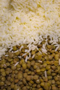 boiled lentil and rice
